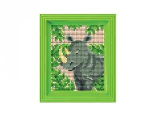 Pixelhobby képkészlet, Orrszarvú (31436, 10x12 cm-es alaplap, színek, képkeret, 7-99 év)