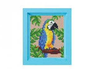 Pixelhobby képkészlet, Papagáj (31430, 10x12 cm-es alaplap, színek, képkeret, 7-99 év)