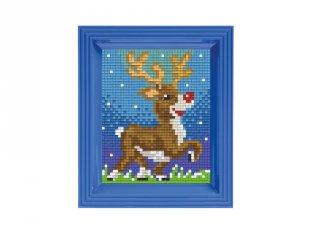 Pixelhobby képkészlet, Rénszarvas (31417, 10x12 cm-es alaplap, színek, képkeret, 7-99 év)