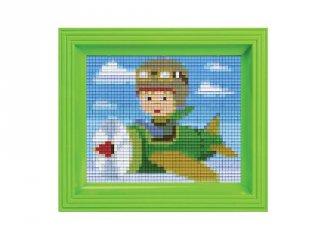 Pixelhobby képkészlet, repülő (31207, 10x12 cm-es alaplap, színek, képkeret, 7-99 év)