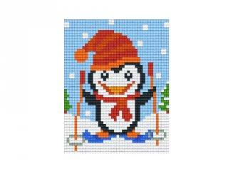 Pixelhobby képkészlet, síelő pingvin (801394, 1db alaplap + színek, 7-99 év)