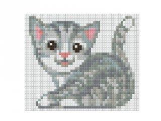 Pixelhobby képkészlet, szürke cica (801361, 1db alaplap + színek, 7-99 év)