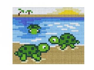 Pixelhobby képkészlet, teknősök (801214, 1db alaplap + színek, 7-99 év)