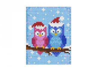 Pixelhobby képkészlet, téli baglyok (801418, 1db alaplap + színek, 7-99 év)