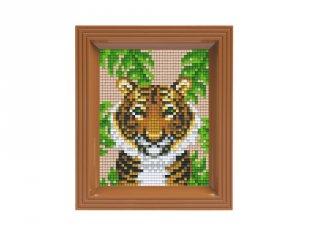 Pixelhobby képkészlet, Tigris (31428, 10x12 cm-es alaplap, színek, képkeret, 7-99 év)
