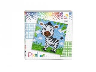 Pixelhobby képkészlet, Zebra (44013, 4db 6x6-os alaplap + színek, 7-99 év)