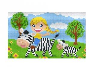 Pixelhobby képkészlet, zebrán lovagló kislány (802076, 2db alaplap + színek, 7-99 év)