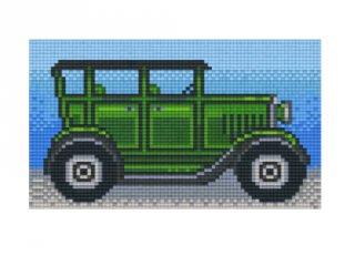 Pixelhobby képkészlet, zöld retro autó (802088, 2db alaplap + színek, 7-99 év)
