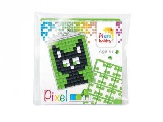 Pixelhobby Kulcstartó készlet, fekete macska (23037, 1db kulcstartó alaplap + 3 szín, 7-99 év)
