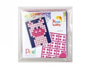 Pixelhobby Kulcstartó készlet, malac (23002, 1db kulcstartó alaplap + 3 szín, 7-99 év)