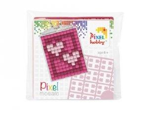 Pixelhobby Kulcstartó készlet, szív (23018, 1db kulcstartó alaplap + 3 szín, 7-99 év)