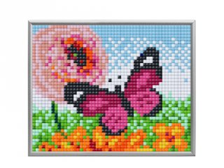 Pixelhobby, Pixel XL 4 alaplapos készlet, Rózsaszín pillangó (28016, 4 db 10x12 cm-es alaplap, XL színek, 4-10 év)
