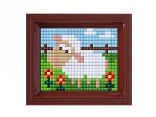 Pixelhobby, Pixel XL készlet, bárányka (12015, 10x12 cm-es alaplap, XL színek, képkeret, 4-6 év)