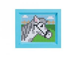 Pixelhobby, Pixel XL készlet, fehér ló (12069, 10x12 cm-es alaplap, XL színek, képkeret, 4-6 év)