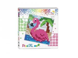 Pixelhobby, Pixel XL készlet, Flamingó (41003, 12x12 cm-es alaplap, XL színek, 4-6 év)