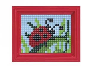 Pixelhobby, Pixel XL készlet, katicabogár (12005, 10x12 cm-es alaplap, XL színek, képkeret, 4-6 év)