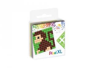 Pixelhobby, Pixel XL készlet, majom (27011, 1db 6x6 cm-es alaplap, 4 szín, 4-6 év)