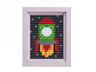 Pixelhobby, Pixel XL készlet, űrhajó (12029, 10x12 cm-es alaplap, XL színek, képkeret, 4-6 év)