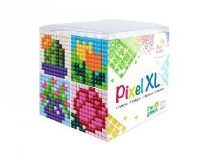 Pixelhobby, Pixel XL készlet, virágos (24103, 4db 6x6 cm-es képhez, 4-6 év)