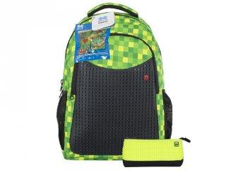 Pixie Crew, egyedi mintájú pixel iskolatáska tolltartóval, zöld kockás (PC, gyerek kiegészítő, 6-14 év)