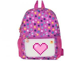 Pixie Crew, egyedi mintájú pixel ovis hátizsák, rózsaszín pöttyös (PC, gyerek kiegészítő, 3-7 év)