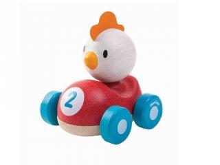 Plan Toys csibés versenyautó, fa bébijáték