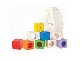 Plan Toys érzékelő kocka készlet, fa bébijáték (9 db)