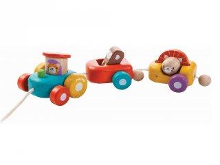 Plan Toys húzható állati vonat, mozgásfejlesztő fa bébijáték