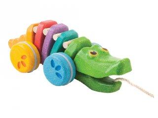 Plan Toys húzható szivárványos aligátor, mozgásfejlesztő fa bébijáték