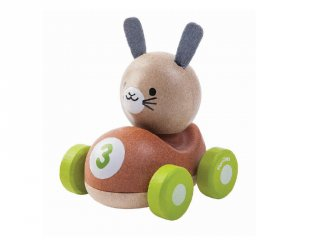Plan Toys nyuszis versenyautó, fa bébijáték