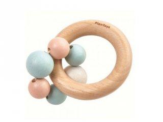 Plan Toys, pasztell gyöngyös csörgő, fa bébijáték