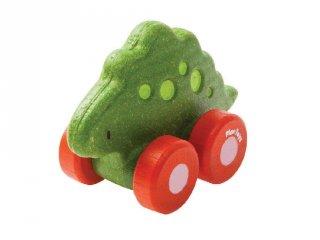 Plan Toys Stego dínó autó, fa gurulós bébijáték