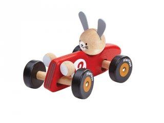 Plan Toys versenyautó nyuszival, fa bébijáték