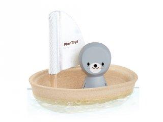 Plan Toys vitorlás csónak fókával, fa fürdőjáték