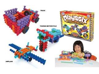 Playstix, járműves építőjáték (Popular, 130 db-os kreatív építőjáték feladatkártyákkal, 3-99 év)