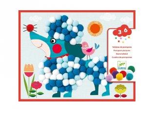 Pomponkép készítő, Simogatni való kutyák, Djeco kreatív készlet - 9867 (3-6 év)