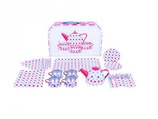 Pöttyös teás készlet bőröndben (Bigjigs, konyhai szerepjáték, 3-7 év)