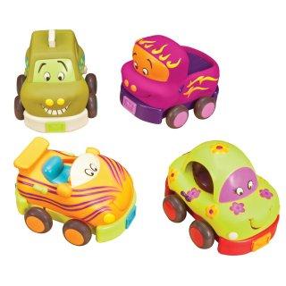Puha autócsodák (B.Toys, 4 db hangadó, lendkerekes bébijáték, 1-5 év)