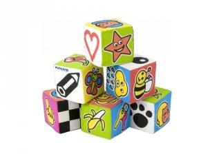 Puha kockák csörgővel, Miniland babajáték (96414)