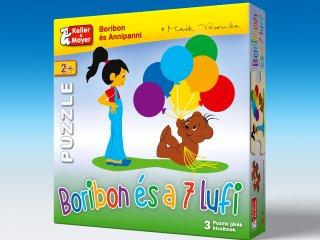 Puzzle: Boribon és a 7 lufi (Keller & Mayer, 3 kirakható kép, 2, 4 és 6 db-os puzzle, 2-5 év)