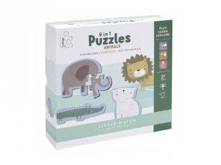 Puzzle játék Állatkert, Little Dutch készségfejlesztő játék (4443, 2-4 év)