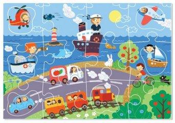 Puzzle kivehető elemekkel Közlekedés, 18 db-os kirakó (DO, 2-4 év)