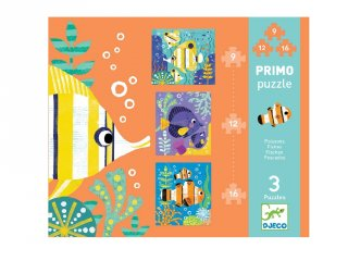 Puzzle Primo, Halak (Djeco, 7138, 9,12 és 16 db-os kirakó, 2-5 év)