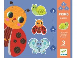 Puzzle Primo, Kisállatok a kertben (Djeco, 7141, vegyes darabszámú kirakó, 2-5 év)