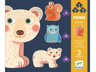 Puzzle Primo, Kisállatok az erdőben (Djeco, 7143, vegyes darabszámú kirakó, 1-3 év)