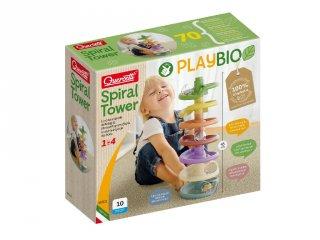 Quercetti Play Bio Spiral Tower 10 db-os golyópálya, babajáték (86501, 1-4 év)