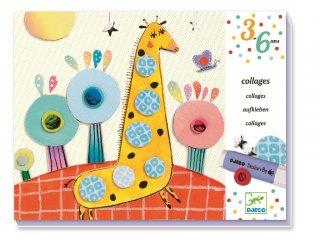 Ragasztós kollázskészítő, Állatok (Djeco, 8666, kreatív képalkotó játék, 3-6 év)