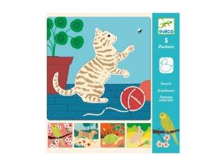Rajzsablon Aranyos állatok, Djeco 5 db-os kreatív rajzkészlet - 8820 (4-8 év)