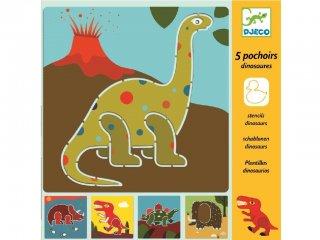 Rajzsablon, Dinoszauruszok (Djeco, 8863, 5 db-os kreatív rajzkészlet, 4-8 év)