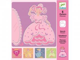 Rajzsablon, Hercegnők (Djeco, 8817, 5 db-os kreatív rajzkészlet, 4-8 év)